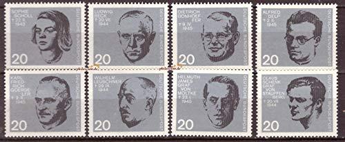 philaseum Briefmarken BRD 1964, Mi.Nr. 431-438, 20. Jahrestag des Attentats auf Adolf Hitler, Postrisch (Mi. 4,20 EUR)