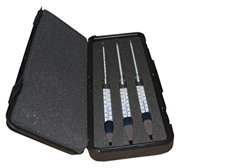 Set of 3 SafetyBlue Brewing ThermoHydrometers with The Following Specific Gravity Ranges 0.980/1.020, 1.00/1.070, 1.060/1/130. All with a 20/150°F Thermometer in Body. Supplied in a Sturdy Plastic ca