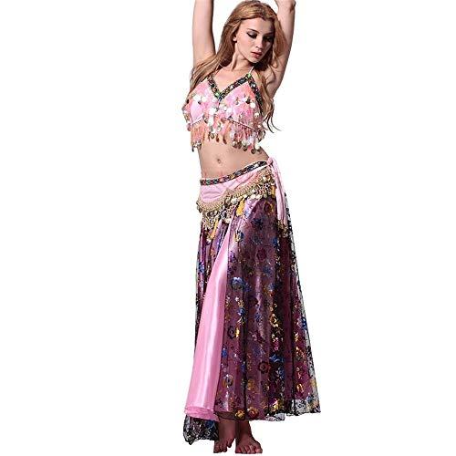 Vestido de Baile Traje de traje de danza del vientre Traje de verano Traje de baile indio sexy Falda de espectáculo Púrpura y rosa Disfraz de Baile para Mujer ( Color : Purple+pink , tamaño : METRO )