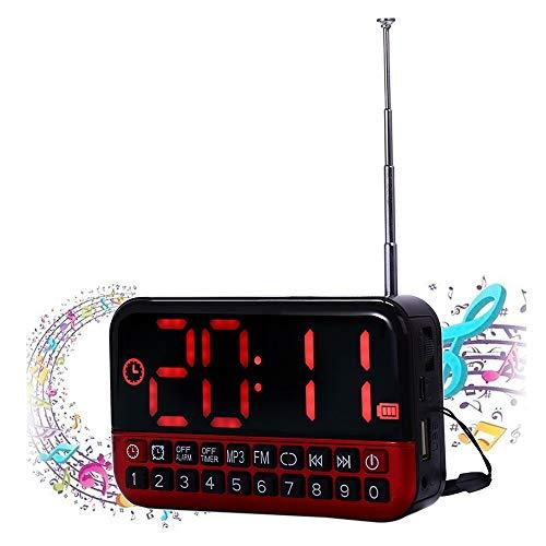 Despertadores Despertador Digital Pantalla LED Música Radio Mp3 Altavoz de Viaje Snooze Antena Función Oficina en el hogar inalámbrica para Padres Ancianos Despertador