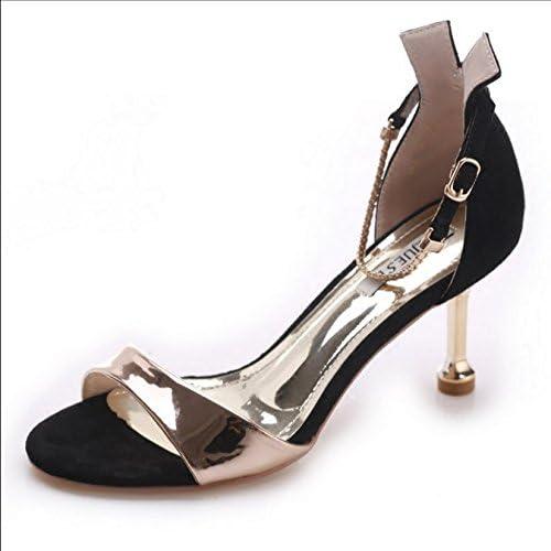 HBDLH Chaussures pour Femmes avec Une Paire De Sandales Et Une Paire De Sandales été Fashion Shows Slim 7Cm des Chaussures à Talons Haut Daim des Chaussures De Femme.