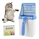 Eurobuy Pala de Basura para Gatos y Papelera de Basura 2 en 1, útil Herramienta de Limpieza para Mascotas con Bolsa de Basura, Limpieza con Arena para la Arena para Gatos (opción de 2 Colores)