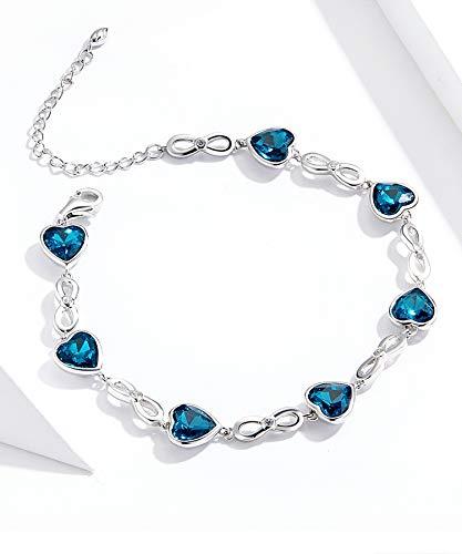 Wh1t3zZ1 Pulsera Mujer 925 Sterling Silver Ocean Heart Brazalet Femenino Azul Austriaco Rhinestone Original Pulsera Joyería Regalo