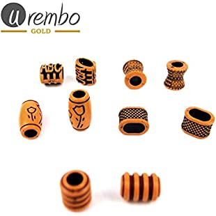 Urembo Gold Wooden Hair Beads with African Patterns Wooden Hair Beads with African Patterns:Canliiddaa