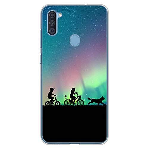 BJJ SHOP Custodia Trasparente per [ Samsung Galaxy A11 / Samsung Galaxy M11 ], Cover in Silicone Flessibile TPU, Design: Bambini dell Aurora boreale con Bicicletta e Cane
