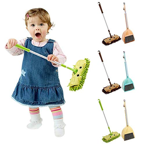 Baby Cleaning Set, Toy Bezem/Vegen Mop En Blik - Vegen Set Van 3 Pretend Play Set for Kids,Green