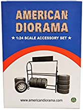 American Diorama Metal Tire Rack with Rims and Tires for 1:24 Scale Models 77530