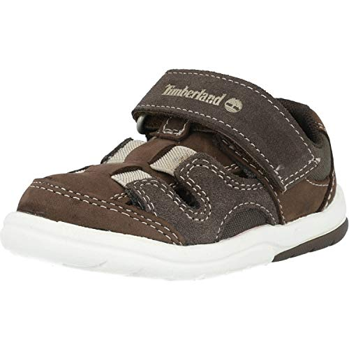 Timberland Toddle Tracks Fisherman, Sandali a Punta Aperta Unisex-Bimbi 0-24, Marrone (Promo Brown Naturebuck D40), 21 EU
