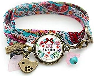 Bracelet marraine, Super marraine, rose bleu, fleur bleu, oiseau bronze, cadeau marraine, bracelet liberty