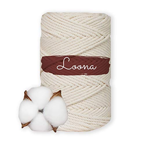 Loona - Hilo de algodón macramé de 100% algodón suave, 5 mm 100 m, cordón de algodón, hilo de algodón trenzado, color natural, macramé, hilo textil, cordón, cordón de algodón, cuerda (5 mm 100 m).