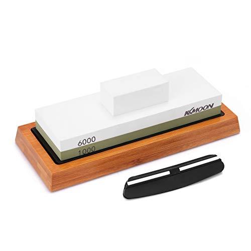 KKmoon 1000# / 6000# - Piedra de afilar premium con soporte de silicona antideslizante para cuchillos