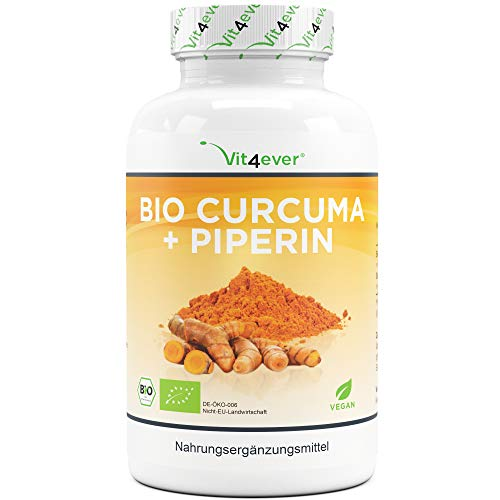 Bio Curcuma - 365 vegane Kapseln - 4560 mg (Bio Kurkuma + schwarzer Pfeffer) pro Tagesportion - Mit Curcumin & Piperin - Laborgeprüft - Hochdosiert - Vegan