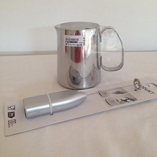 Ikea Mattlig - Caraffa per schiuma di latte in acciaio inox e montalatte IKEA PRODUKT, set di montalatte e brocca