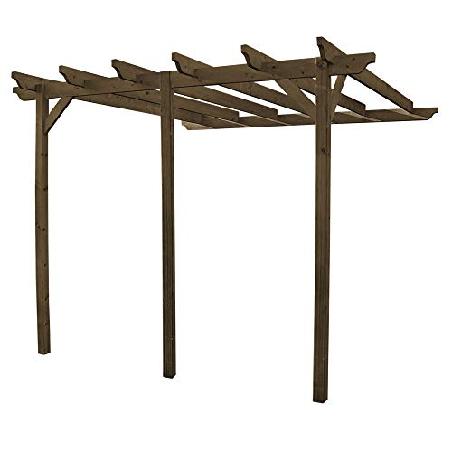 Rutland County Garden Furniture Large Pergola Sculpted Rafter - Wall Mounted Pergola Design 3 Posts (2.4m x 4.8m, Rustic Brown)