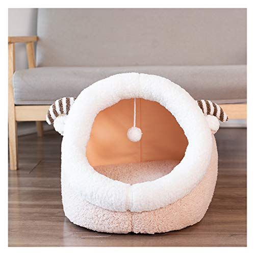 WanXingY Warm And Comfortable Pet Bed Removable Pad Foldable Portable Indoor Nesting Puppy Tent Dog Cat Bed House Winter Sleeping Bag (Color : Light yellow, Size : S)