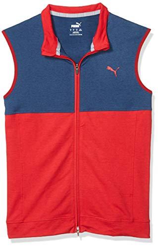 PUMA Golf 2020 Men's Cloudspun Vest, Barbados Cherry-Dark Denim, Triple x Large