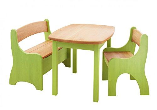 BioKinder 24789 Spar-Set Levin Kindersitzgruppe Sitzgruppe für Kinder mit Tisch, Bank und Stuhl aus Massivholz Erle und Kiefer grün lasiert