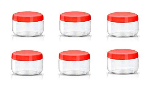 Sunpet plástico alimentos recipiente de almacenamiento, plástico, Rojo, 150 ml, Pack 6