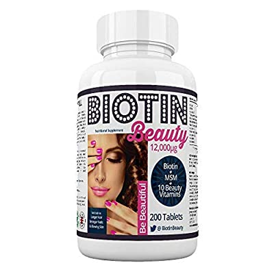 Biotin Beauty -12,000mcg Biotin Boosted With MSM and 10 Vitamins - World's Strongest Biotin Supplement. Maximum Strength For Long Thick Hair Growth, Radiant Skin, Strong Nails and Healthy Mind and Body. 200 Tablets for Women and Men. Best Supplement for H