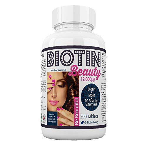 Biotin Beauty - Hair Growth Vitamins - 12,000mcg Biotin Maximum Strength - Added MSM plus 10 Powerful Hair, Skin and Nail Vitamins - The World's Strongest Biotin Supplement - 200 Tablets