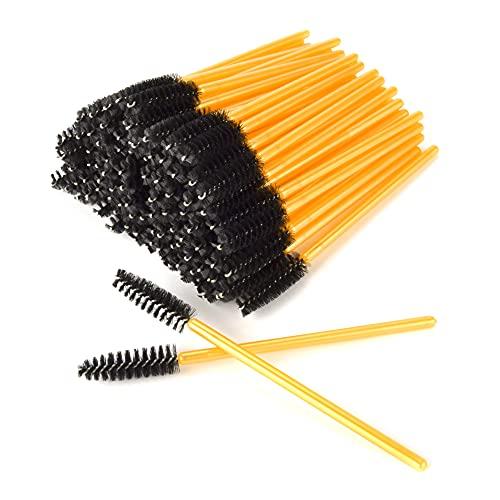 AIBAOBAO Brosses à cils jetables, 100 pièces baguettes de mascara jetables, Goupillon Cils, noirs pour extension de cils applicateur de sourcils kits d'outils de brosse de maquillage cosmétique