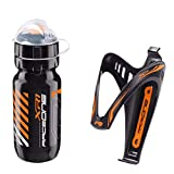 Raceone.it - Kit Fluo Race - 2 PCS - Bidón de Ciclismo + Portabidon para Bicicleta. Bottle XR1 + Bottle Cage X3 /600 CC. Color: Naranja Fluo - 100% Made IN Italy