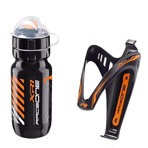 Raceone.it - Kit Fluo Race Duo: Borraccia XR1 + Portaborraccia X3 Ideale per Bici Race/MTB/Gravel/Trekking Bike. capacità: 600 CC. Colore Nero/Orange Fluo. 100% Made in Italy (RO_Kit_2_X3_Fluo_OFL)