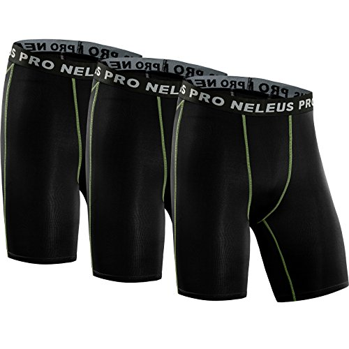 Neleus Men's 3 Pack Compression Short,047,Black,US L,EU XL