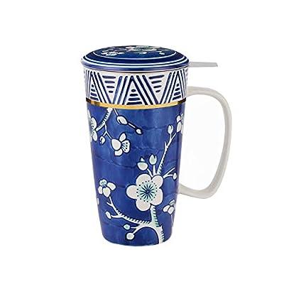 Taimei Teatime Hand Painted Tea/Coffee Mug, Ceramic Tea Cup with Infuser and Lid, 17 fl oz Large Tea Maker for Loose Leaf Tea, Blue and White
