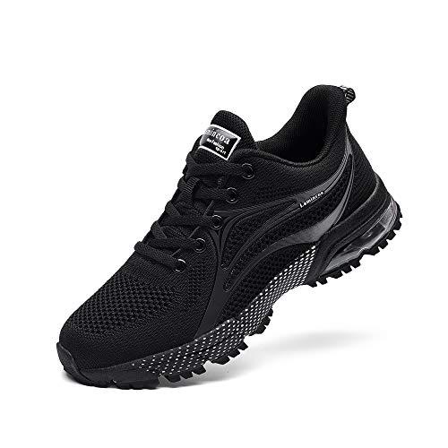NewNaisu Damen Sneaker Laufschuhe Air Turnschuhe Leichte Luftkissen Sportschuhe Atmungsaktiv Joggingschuhe Straßenlaufschuhe Schwarz