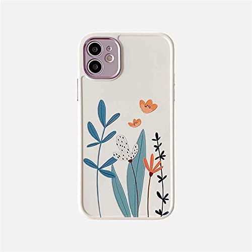 LIUYAWEI Funda para teléfono Love Heart Flowers para iPhone 12 Pro MAX 11 Pro MAX XS MAX XR X 7 8 Plus SE 2020 Funda de TPU Suave con Borde Recto, T2, para iPhone SE (2020)