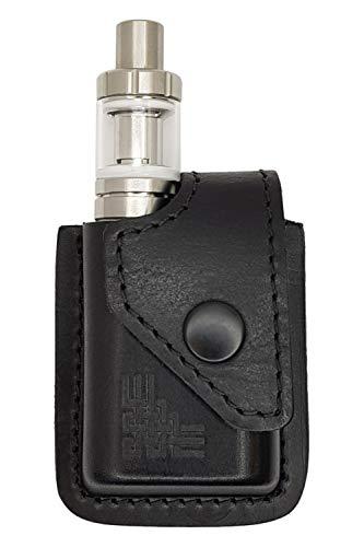 VlaMiTex i1 Bolsa de Cintura Viaje portátil para Caja de Cigarrillos electrónica vaporizador Mod Eleaf iStick Pico 75W / Vaporesso Target Mini, Cuero Genuino, Negro
