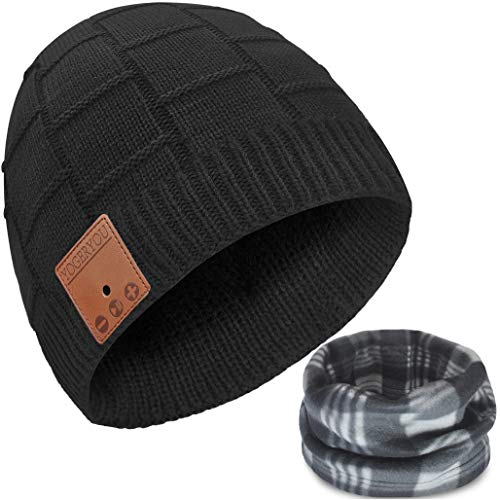Bluetooth Beanie,Bluetooth Hat,Bluetooth Beanie Hat,Unisex Knit Wireless Running Headphones Earphones Music Hat with Stereo Speakers & Mic Unique Stocking Stuffers Novelty Headwear Tech Gifts Black