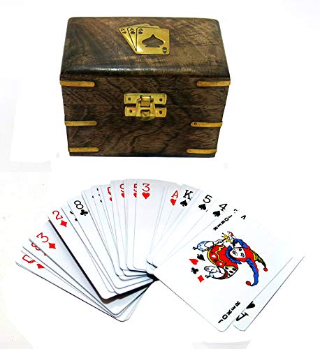 Ages Behind Set of 2 Playing Cards Wooden Box 12.5 x 8 x 8.5 cm