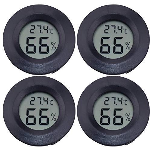 ledmomo LCD デジタル湿度計 4個セット円形 アクリル 爬虫類 ペット温度計 高温 低温 高精度 デジタル 爬虫類テラリウム