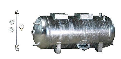 Druckbehälter Druckkessel 100-300 L 6 b mit Zubehör liegend verzinkt Druckwasserkessel Hauswasserwerk (300 L)