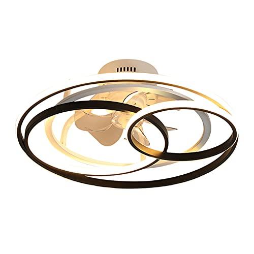 Luces de ventilador de techo LED, luces de decoración de dormitorio nórdico, luces de habitación, ventiladores de techo de comedor, control remoto con luces ( Blade Color : BLACK , Voltage : 85 265V )