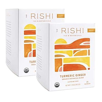 Rishi Tea Turmeric Ginger Herbal Tea, 15 Sachet Bags, 1.75 oz (Pack of 2) by Rishi Tea