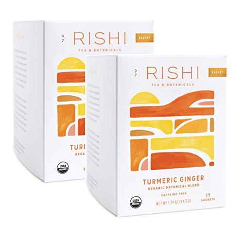 Rishi Tea Turmeric Ginger Herbal Tea, 15 Sachet Bags, 1.75 oz (Pack of 2)
