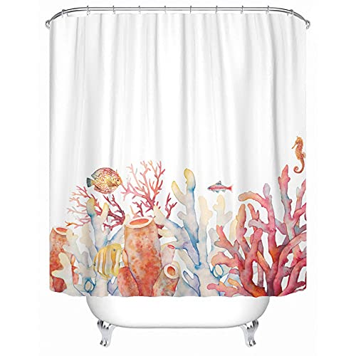 Emvency Shower Curtain Curtains Sets with Hooks Nautical Theme Watercolor Coral Border with Underwater Branches Sea Horse and Fishes On White 72'X72' Waterproof Decorative Bathroom