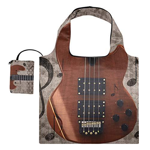 XiangHeFu Totes de regalo reutilizables para comestibles Bolsas de compras Instrumento musical plegable de gran capacidad Guitarra eléctrica