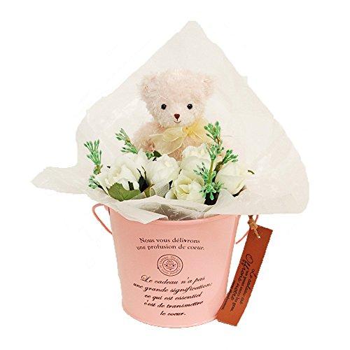 誕生日・お祝い・発表会に贈る プレゼント くま束 「プティットローズ・COCO」 花ギフト (ピンク(ベア色))