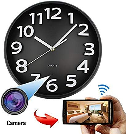 SPYCENT WiFi HD SPY Hidden IP Camera DVR Wall Clock Real-Time Nanny Cam Night Vision, Loop Recording,PIR Activated Local Record nstant Push,Free iOS& Android App, Home Security & Surveillance