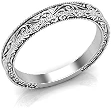 14K White Gold Vintage Wedding Band Filigree Band Plain Solitaire Band Milgrain Band Scroll Filigree Unique Band Stackable Band For Her Antique Wedding Band Art Deco Band