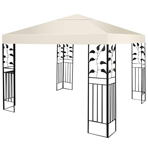 Tangkula 9.8' x 9.8' Canopy Cover Outdoor Patio Gazebo Replacement Top Cover Wedding Party Event Tent Cover Heavy Duty Durable Waterproof Sun Snow Rain Shelter 1-Tier or 2-Tier 3 Color (1-Tier, Beige)