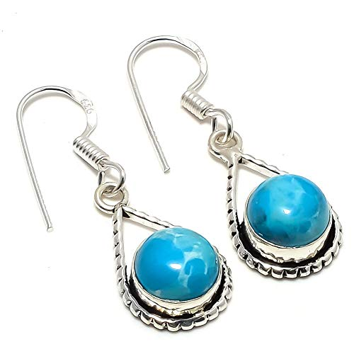 Blue Dyed Larimar! Girls EARRING 1.5' Long, New ARRIVAL! Silver Plated, HANDMADE Art Jewelry! Best Variety Store
