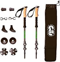 Hiker Hunger Outfitters Carbon Fiber Trekking Poles –Ultralight & Collapsible with Quick Flip-Locks,Cork Grips,Tungsten Tips,Set of 2 Poles - All Terrain Accessories and Carry Bag, Hiking, & Walking