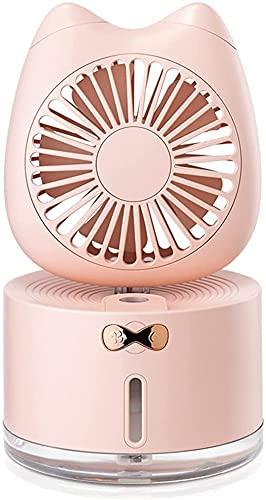 GDYJP Mini Ventilador portátil USB Recargable Mini Gato humidificación Fan Colorido iluminación Oficina Almacenamiento de Escritorio (Color : Pink)