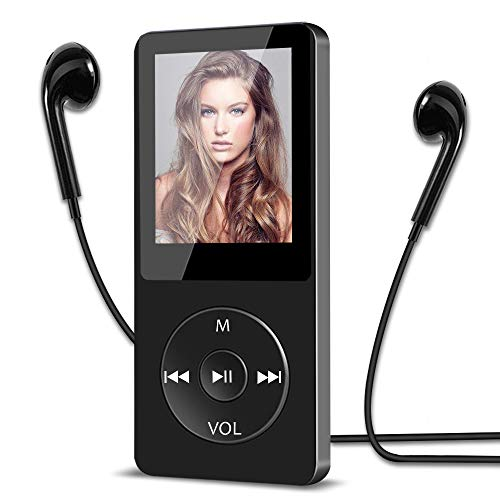 16GB MP3 Player, HiFi Musik-Player verlustfrei MP3 mit 1.8 Zoll Bildschirm, 30 Stunden Wiedergabezeit, Unterstützung FM Radio/Bild/E-Book/Aufnahmen, bis128G TF Karte Schwarz