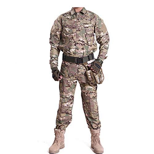HRS Herren Tactical Camouflage Anzug Camo Uniform Outdoor Jagd Trekking Camping Militär Kampfanzug, Mehrfarbig, m
